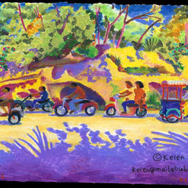 L. Kelen: 'Scooters', 2002 Oil Painting, Transportation. Artist Description: Cozumel. . . oil pastel. ....