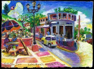 Culture Oil Painting by L. Kelen Title: Town Square, created in 2001