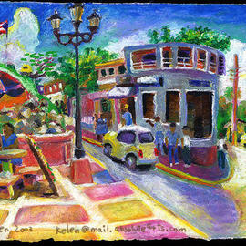 L. Kelen: 'Town Square', 2001 Oil Painting, Culture. Artist Description: Town square on island of Culebra, puerto rico. . .oil pastel...