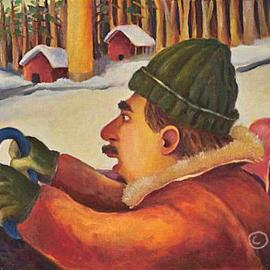 L. Kelen Artwork winterdriver, 2005 Oil Painting, Travel