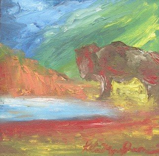 Kelie Myers: 'Buffalo on the Water', 2007 Oil Painting, Landscape.  This an abstract landscape full of vivid color. It is part of a series called Native Roots. ...