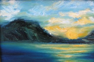 Kelie Myers: 'Fall of Day on Grand', 2007 Oil Painting, Landscape.  A minature landscape of a beautiful sunset on Grand Lake in Oklahoma. ...
