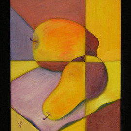 Kelly Parker: 'VY still life', 2010 Oil Painting, Still Life. Artist Description:  still life, fruit, pear, pears, apple, apples, oil, oil painting, divided, 2 color, 2- color, violet, purple, yellow, yellows, complimentary colors,  ...