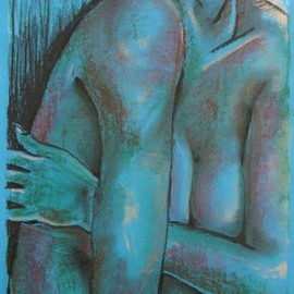 Ken Hillberry Artwork Blue Nude 1, 2009 Mixed Media, Figurative