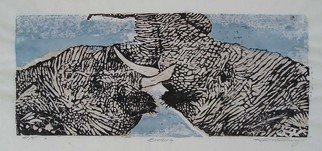 Ken Hillberry: 'Brotherly Love', 2002 Woodcut, Wildlife.  The nature of youth is to playfully frolic and completely live and feel the moment. Here, I' ve attempted to capture these siblings embraced in the height of just such a moment. ...