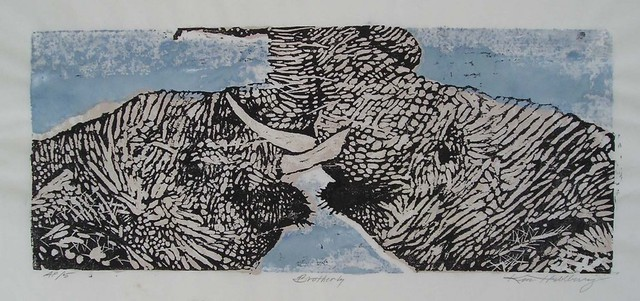 Ken Hillberry  'Brotherly Love', created in 2002, Original Printmaking Linoleum - Open Edition.