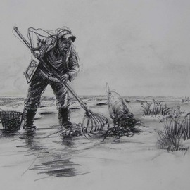 Ken Hillberry: 'Clam Digger', 2002 Charcoal Drawing, Seascape. Artist Description:  A charcoal drawing elaborating on the mystique of friends and involvement in a pastime, which is prosperous and soulful. ...