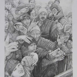 Ken Hillberry Artwork Daily Bread, 1999 Pencil Drawing, World Conflict