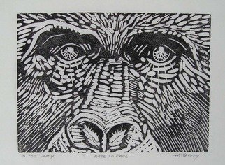 Ken Hillberry: 'Face to Face', 2001 Linoleum Cut, Wildlife.  The facial expression captured closely favors my own.The process and result is as impressionistic and unpredictable as the nod it composes.  ...