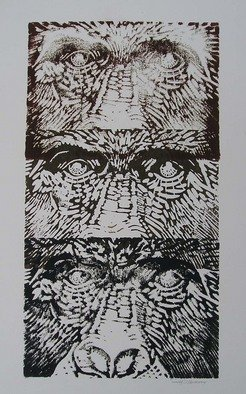 Ken Hillberry: 'Family Tree', 2001 Linoleum Cut, Wildlife.  Multiple images and subtle difference in ink tone provide an adhesive and interesting composition.  ...