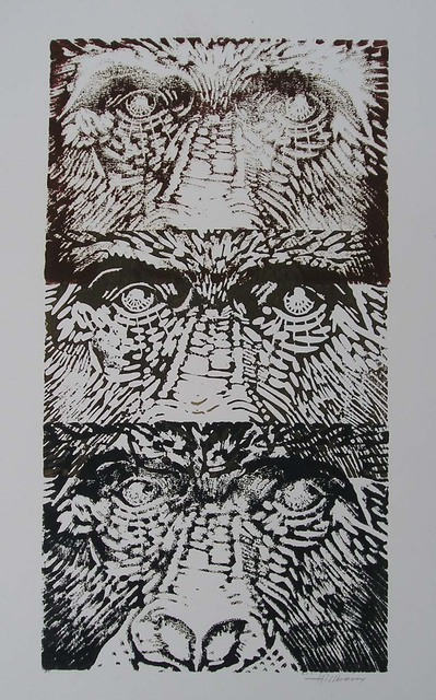 Ken Hillberry  'Family Tree', created in 2001, Original Printmaking Linoleum - Open Edition.
