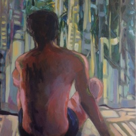 Anyck Alvarez Kerloch: 'a summer afternoon', 2019 Acrylic Painting, Body. Artist Description: I was always fascinated by the light coming through the curtains and it has become a recurrent subject in my work.  Figure, body, young man, meditation, summer, relax, people. ...