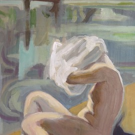 Anyck Alvarez Kerloch: 'at the pool', 2016 Acrylic Painting, Nudes. Artist Description: Acrylic on heavyweight archival quality paper.  Woman undressing at the pool.  The painting is varnished.  Nude, figure, body, erotic, people, skin, undressing, figurative. ...