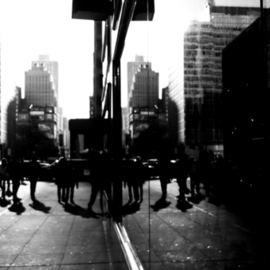 Kerwin Williamson: 'Dim Reflections', 2012 Black and White Photograph, Landscape. Artist Description: Given the changing urban landscape of New York City with new additions of modern architecture ( where so much glass is used) , it makes for an interesting subject. Exploring the visual aspect of this is a serious challenge.                     ...