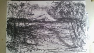 Landscape Charcoal Drawing by Ketut Permana Title: mountain view from top of hill, created in 2015