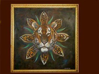 Kevin Wakefield: 'Tribal tiger mask ', 2013 Oil Painting, Animals.
