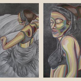 Kyle Foster: 'Two 24x48 Panels of Dancer', 2004 Oil Painting, Abstract Figurative.