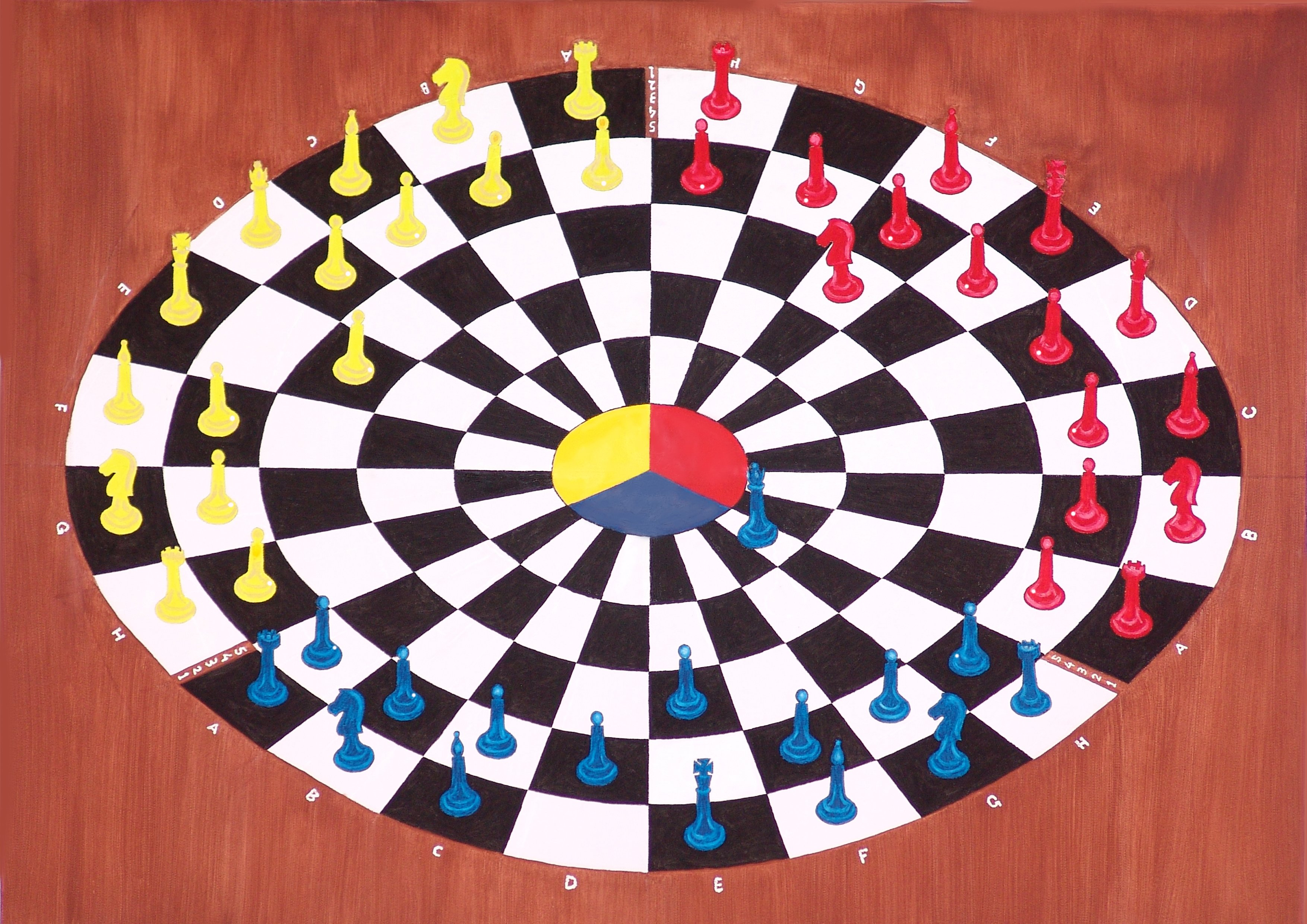 Khosrow Mokori: 'chess 3 bounce', 2018 Oil Painting, Abstract. Artist Description: World first chess game played by three opponents . ...