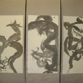 Kichung Lizee Artwork Dragon Triptych, 2003 Other, Buddhism