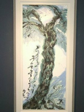 Kichung Lizee: 'Enchanted Jade Garden Series M Pine', 2005 Mixed Media, Botanical.  done on mulberry paper, using Chinese ink, Eastern calligraphy brush, water color and oil....