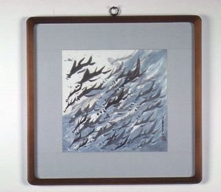 Kichung Lizee: 'Flying Fish', 2002 Mixed Media, Fish.  done on mulberry paper, using Chinese ink, Eastern calligraphy brush and water color....