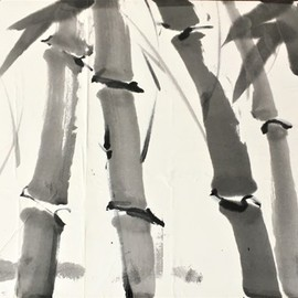 Kichung Lizee: 'bamboo series 1', 2020 Ink Painting, Nature. Artist Description: Traditional technique of bamboo with Western interpretation on mulberry paper using Chinese ink...