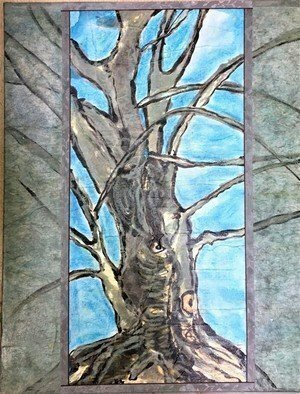 Kichung Lizee: 'wilson tree 2', 2021 Mixed Media, Spiritual. Eastern calligraphy ink and mixed media on mulberry paper glued on canvas...