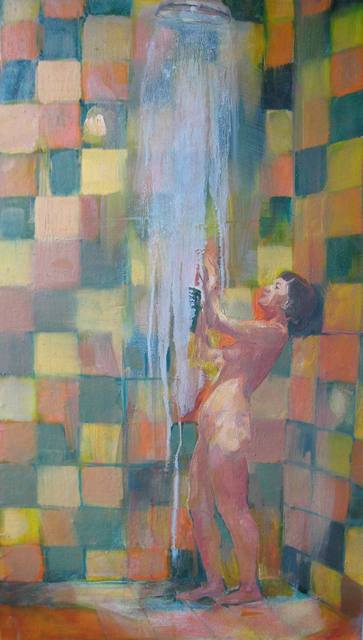 Artist Kristine Gurspone. 'Shower' Artwork Image, Created in 2008, Original Painting Oil. #art #artist