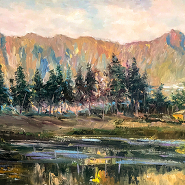 Kim Anh: 'mountainous morning', 2020 Oil Painting, Landscape. Artist Description: this scenic area located in HaGiang , north Vn ...