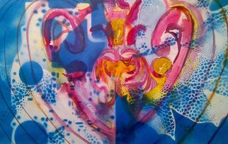 Kimmie Hamm: 'Abstract Heart', 2016 Mixed Media, Abstract.  Watercolor and Acrylic spray paintSociety says one thing and our brain says another. What does our heart say? Who rules your Abstract Heart? ...
