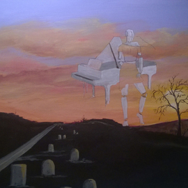 Kimmie Hamm: 'Nameless', 2016 Acrylic Painting, Christian. Artist Description:  Nameless Acrylic on Canvas Broken and nameless in life, but restored in heaven. I see rows of nameless graves on a dark road but ahead in the twilight sky visions of beautiful music so powerful that it begins to heal the brokenness of life thus creating a place ...