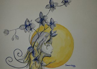 Kimmie Hamm: 'Princess Moon Flower', 2015 Watercolor, Archetypal. On the eve of her emergence ceremony the princess gathers blue and white moon flowers, for tomorrow the Harvest moon will be full and golden yellow. The whole clan will help her prepare for the journey ahead. She will travel to the world of humans and become one of them. ...