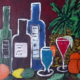 Kimberly Rowlett: 'The Wine and Fruit Party', 2012 Acrylic Painting, Still Life. Artist Description:   This is an original 18 x 24 inch large impressionist, painting with painted staple free sides, on a pre- stretched canvas, by Noted Artist, Kim Rowlett. It is a colorful, addition to your art collection and decor. All that is needed to hang this painting is screw eyes ...