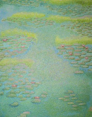 Landscape Acrylic Painting by Kimberley Walton Title: Water Lilies in Spring, created in 2008