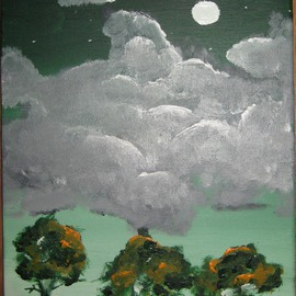Kinga Szasz: 'Moon', 2012 Acrylic Painting, Meditation. Artist Description:  i made this painting when my mood was sad , this is why the clouds are so heavy  ...