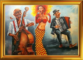 Yury Namestnikov: 'jazzamour', 2017 Oil Painting, Music. Artist Description: jazz, music, contrabass, woman, trio...