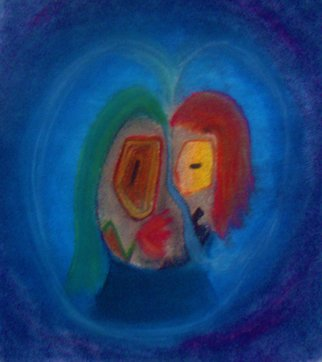 Kiron Kurian: 'Love conquers all', 2014 Pastel, Abstract. Artist Description:  abstract lovers kissing ...