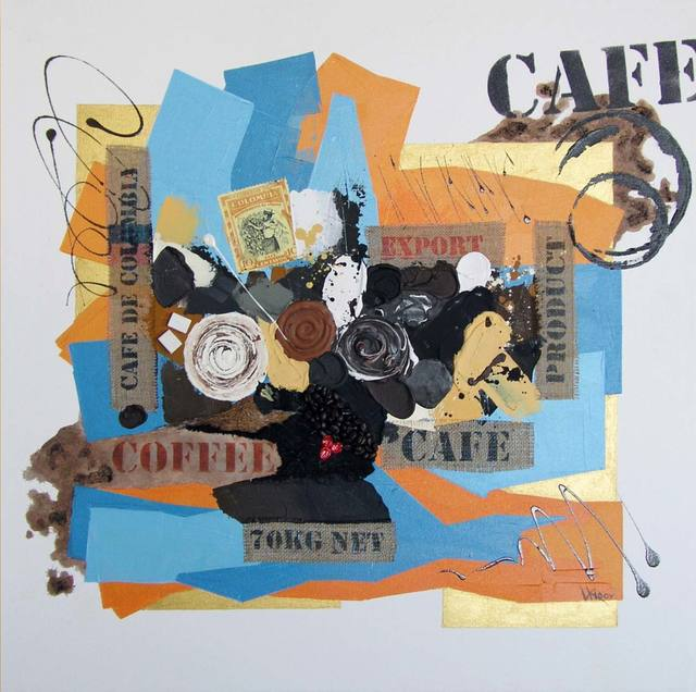 Vasco Kirov  'Cafe Collage L2', created in 2017, Original Collage.