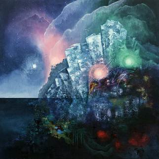 Vasco Kirov: 'the aurora lights', 2016 Acrylic Painting, Abstract Landscape. Artist Description: The Aurora Lights is an interpretation of a place visited in a lucid dream. The sides of this artwork are also painted. Framing is possible but not necessary. ...