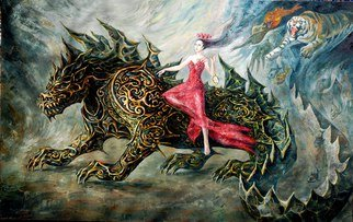 Margarita Usmanova: '666', 2015 Oil Painting, Surrealism. Artist Description:  dragon, girl, red, darkness, tiger, apocalypse ...