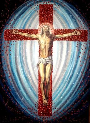 Margarita Usmanova: 'Crucifixion of Jesus Christ', 2011 Oil Painting, Surrealism. Artist Description:  Jesus, Christ, crucification, pomegranate, universe ...
