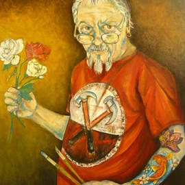 Karl James: 'everythings coming up roses', 2012 Oil Painting, Philosophy. Artist Description:   portrait   ...