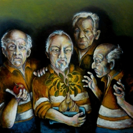 Karl James: 'temptation', 2011 Oil Painting, Philosophy. Artist Description:   the temptation of blue collar workers  ...