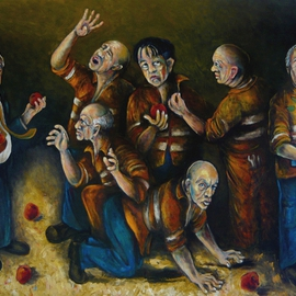 Karl James: 'temptation and Tao', 2011 Oil Painting, Philosophy. Artist Description:  the temptation of blue collar workers ...