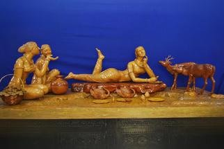 Wood Sculpture by Unni Krishnan titled: SHAKUNTALA, 2014