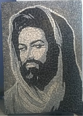 Klaudio Malke: 'mosaic portrait', 2017 Mosaic, Portrait. Artist Description: A mosaic portrait of a religious man made in marble tiles. This one is already sold, so when you will order this, you have to wait until a new one is finished, then this will be shipped to you. ...