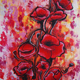 Klein Ioana: 'Poppies', 2013 Oil Painting, Floral. Artist Description:      abstract, red , blue   floral, red ...