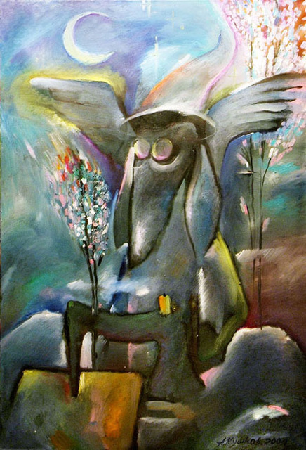 Anton Kushkov  'The Dog Angel Sews A Cloak', created in 2007, Original Painting Oil.