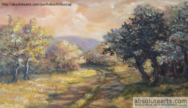 Katalin Luczay  'A Path In The Woods New Jersey', created in 2013, Original Pastel Oil.