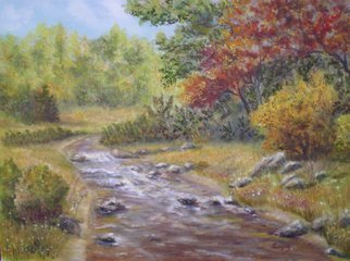 Katalin Luczay: 'Brook', 2008 Oil Painting, Seasons.  Fall, Brook, Colors of red and yellowThe scene is in my backyard 20. 0 ...